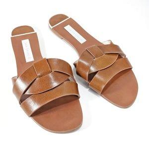 Zara Leather Crossover Sandal sz 9